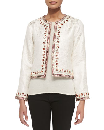 Brocade Jacket with Bead Trim, Women's