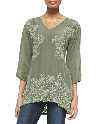 Adina V-Neck Embroidered Blouse & Jimmy Printed Silk Scarf