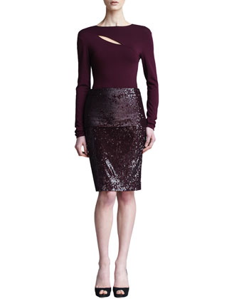 Fold-Over Pull-On Sequin Skirt, Claret