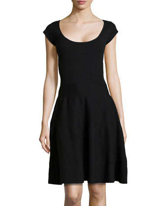 Cashmere-Blend Knit Fit-And-Flare Dress, Black