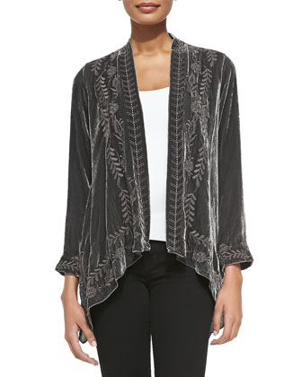 Lauren Velvet Draped Cardigan