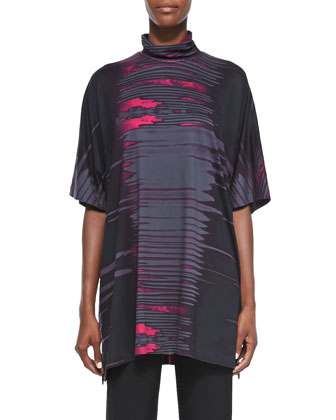 Printed Jersey Turtleneck Caftan