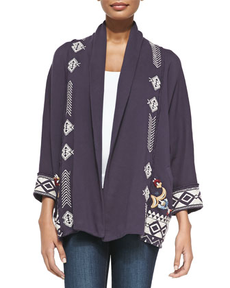 Elise Open-Front Cotton Cardigan Sweater