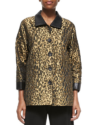 Animal Jacquard Faux-Leather-Trim Shirt, Women's
