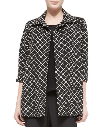 Wavy Diamond Long Jacket, Women's