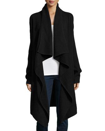 Cashmere Long-Sleeve Coat, Black