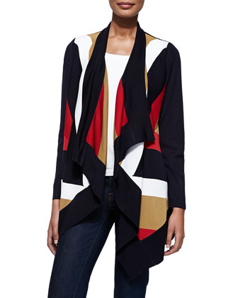 Ophelia Striped Grid-Stitch Cardigan, Blk/Mlt