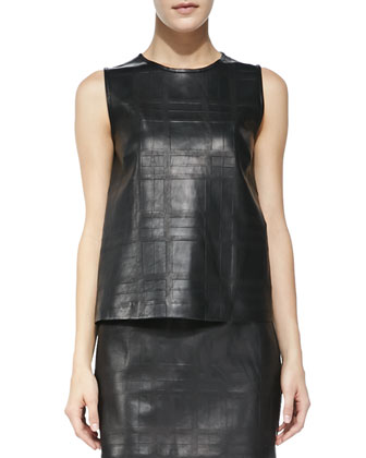 Emlay Plaid Leather/Cashmere Top