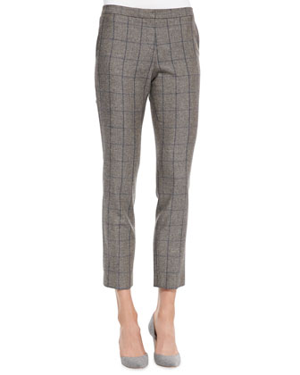 Cashmere Sleeveless Turtleneck Staple Top & Item Windowpane-Check Cropped Pants