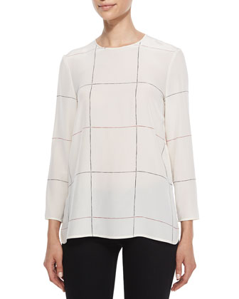 Naomo Leather-Sleeve Cashmere Jacket & Kuna Grid-Print Silk Top