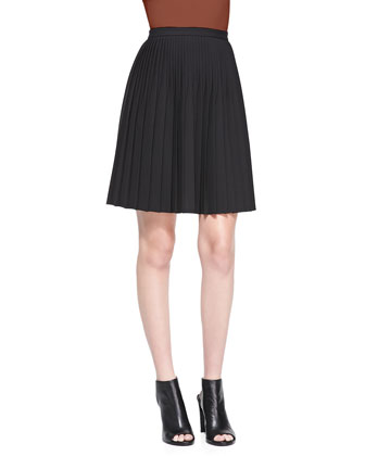 Cashmere Sleeveless Mock-Neck Sweater & Zeya Urban Pleated Skirt
