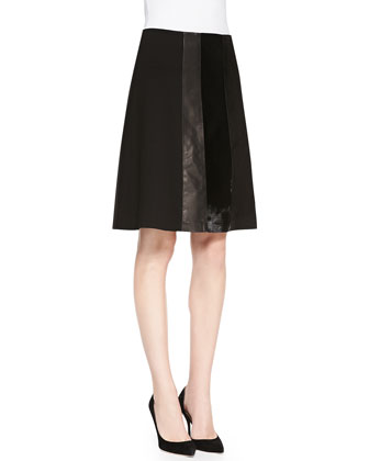 Turnia Tie-Front Silk Top & Nadav Ponte/Leather/Fur Skirt