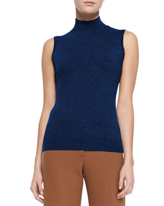Cashmere Sleeveless Turtleneck Staple Top