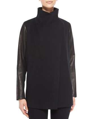 Naomo Leather-Sleeve Cashmere Jacket & Kuna Grid-Print Silk Top
