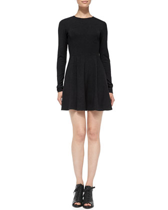 Tillora Knit Long-Sleeve Flare-Skirt Dress