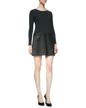 Bowmont Knit/Leather Combo Dress