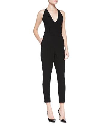 Roxie Tie-Back Crepe Jumpsuit