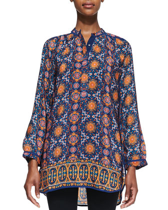 Ellie Silk Border Long Tunic, Women's