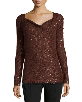 Long-Sleeve Sequined Top, Henna