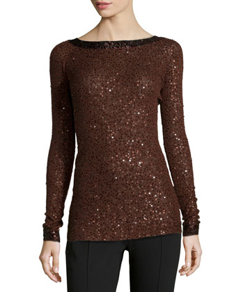 Cashmere-Silk Sequined Sweater, Henna