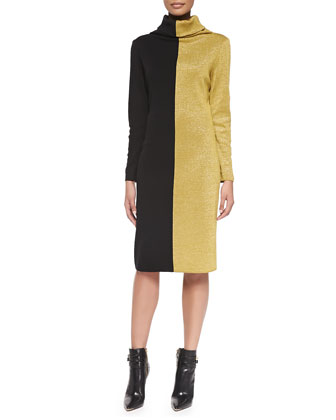 Colorblocked Long-Sleeve Turtleneck Dress