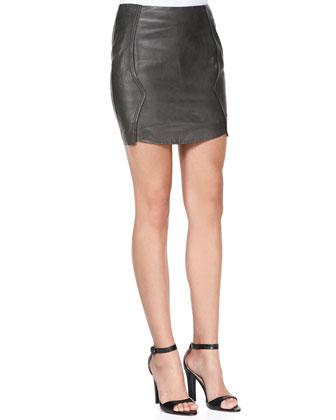 Leather & Jersey Panel Miniskirt