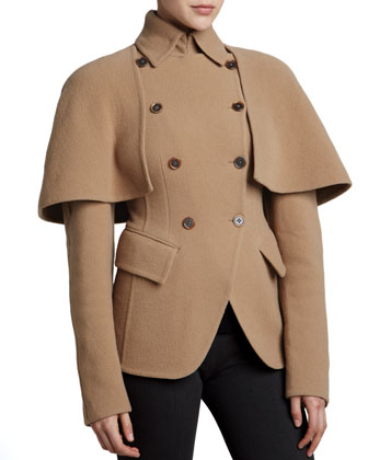 Double-Breasted Cutaway Jacket, Camel
