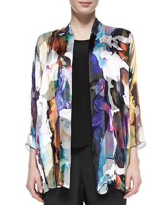 Hand-Painted Silk-Blend Devore Cardigan, Long Silk Crepe Tank & Silk Crepe ...