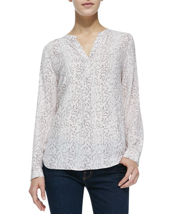 Peterson Printed Split-Neck Top