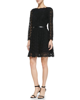 Baronessa Belted Lace Dress