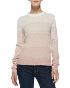 Dorianna Shadow-Stripe Knit Sweater