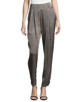 Pleat-Front Back-Zip Pants