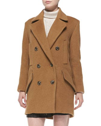 Delsa Double-Breasted Felt Coat