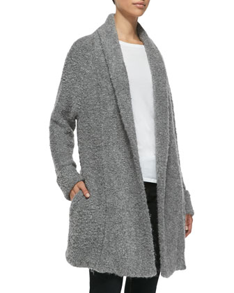 Solome Shawl-Collar Boucle Jacket, Heather Gray
