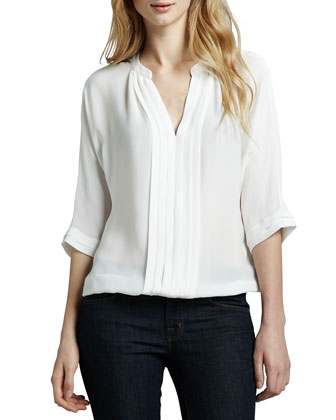 Marru Pintuck-Front Silk Blouse