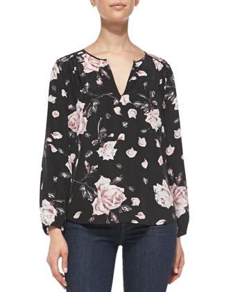 Odelette Floral-Print Silk Blouse