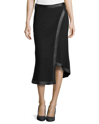 Leather-Trim Wrap Skirt
