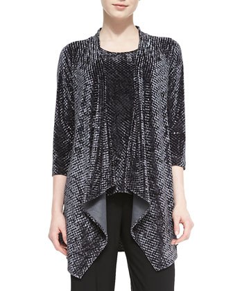 Diamond Crushed Velvet Jacket, Tank & Stretch-Knit Wide-Leg Pants, Petite