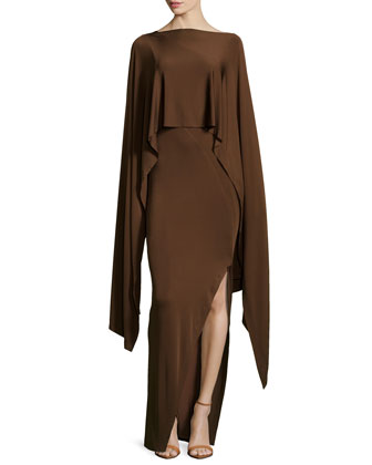 Cape Jersey Evening Gown, Chestnut