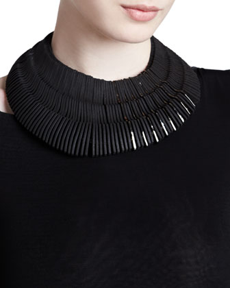 Beaded Leather Collar Necklace, Black