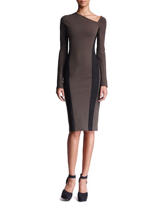 Leather-Panel Long-Sleeve Dress, Burnt Umber