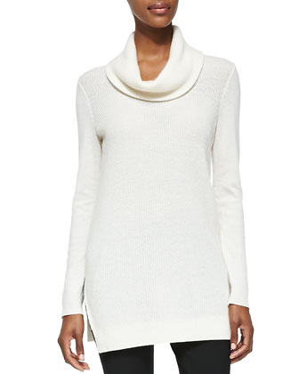 Cashmere Madalinda Tunic Sweater & Venlynn Zipper-Cuff Twill Pants