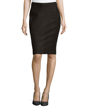 Lambskin Leather Tube Skirt, Black