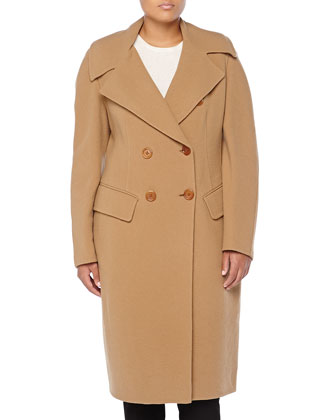 Shaped Double-Breasted Coat, Camel