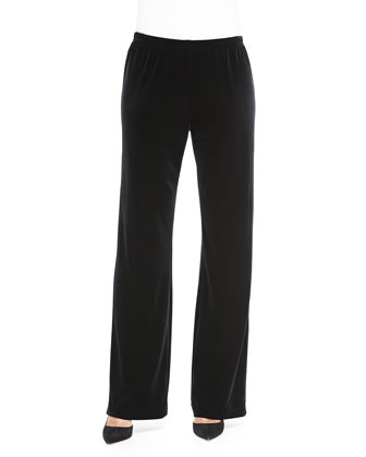 Stretch Velvet Pants, Black