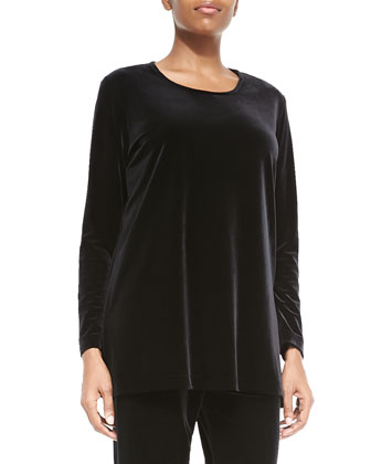 Long-Sleeve Velvet Tunic, Black