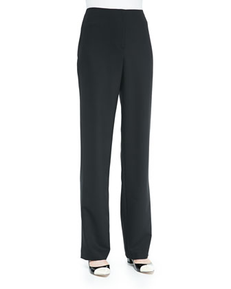 Travel Gabardine Straight-Leg Pants, Black, Petite