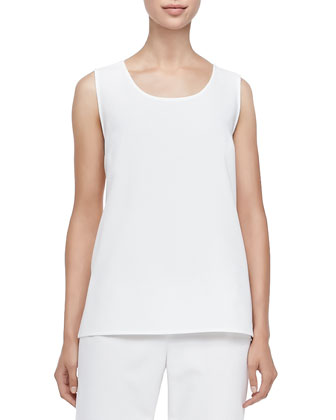 Stretch Crepe Tank, Women's, Off White