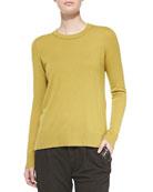 Cashmere-Overlay Crewneck Sweater, Chartreuse