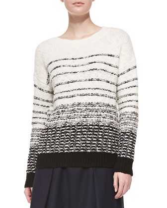 Textured Stripe Knit Sweater & Pleated Flared Wool Skirt